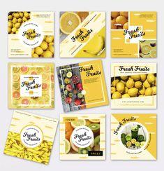 Fresh Fruit Media Banner Templates Food Graphic Design, Food Menu Design, Food Poster Design, Book Design Layout, Ad Design, Social Media Banner, Social Media Design, Food Banner, Banner Template