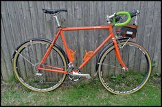 Guitar Ted's (of 'Gravel Grinder News' and 'Trans Iowa' fame) Black Mountain Cycles Cross framed gravel bike. If you don't already know, orange bikes are faster!
