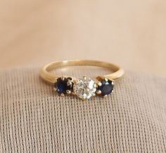 Art Deco Diamond and Sapphire Engagement Ring in 14k by hotvintage, $795.00