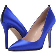 SJP by Sarah Jessica Parker Fawn 100mm (Expert Royal Satin) Women's... ($280) ❤ liked on Polyvore featuring shoes, pumps, pointed toe pumps, high heel shoes, pointy toe pumps, sjp shoes and high heel pumps