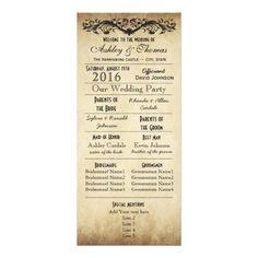 Vintage Rustic Typography Wedding Programs Custom Rack Card