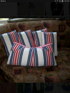 Memory pillows.  These were made with their Dad's favorite pants.