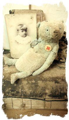 "Image of Old & Worn Blue & Cream Panda Bear * 10"" Antique Style PANDA Bear * By Whendi's Bears"
