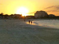 Watching the sunset on Grace Bay beach