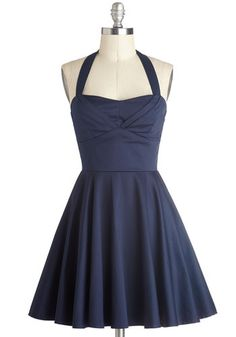 Tabitha's Dress Traveling Cupcake Truck Dress in Navy - Blue, Daytime Party, Vintage Inspired, Fit & Flare, Halter, Good, Sweetheart, Short, Cotton, Woven, ...