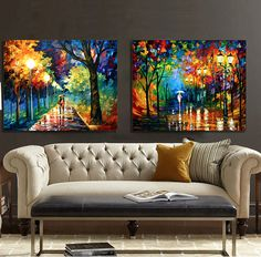 Frames For Canvas Paintings, Big Canvas Art, Colorful Paintings, Nature Paintings, Home Decor Wall Art, Home Art, Cheap Art, Leonid Afremov Paintings, Living Room Art