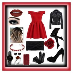 """""""Red and black"""" by aimeelynch24 ❤ liked on Polyvore featuring Chi Chi, Max Factor, ROSEFIELD, Simons, Missguided, Gucci and Reiss"""