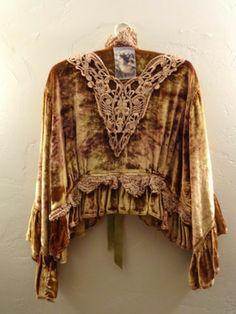 Gorg Magnolia Pearl Velvet Silk Coat Jacket Applique Crochet Tie Dye Ombre