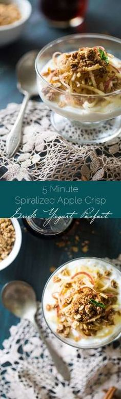 Spiralized Microwave Gluten Free Apple Crisp Breakfast Bowls - Made in the microwave and served on Greek yogurt and apple noodles for an easy, healthy dessert for breakfast! | Foodfaithfitness.com | @FoodFaithFit
