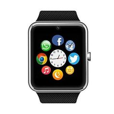 Bluetooth Smart Watch with SIM Card Slot for IOS iPhone Android Samsung HTC Sony LG Smartphones Silver-Black