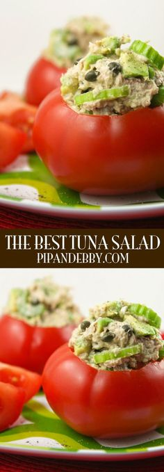 This is the BEST tuna salad with avocado and cayenne pepper for an extra little something!
