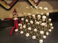 Elf on the Shelf - The Builder (Marshmallows & toothpicks, also try raw spaghetti)