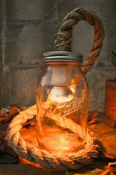 Mason Jar Lighting Rustic Wedding Decor Wedding Lighting Desk Lamp or Night Light - Vintage Industrial Rope Design