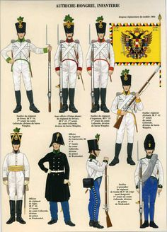 Austria Austrian and Hungarian Infantry 1792 Military Men, Military History, Austrian Empire, Seven Years' War, Holy Roman Empire, Austro Hungarian, Army Uniform, Napoleonic Wars, Kaiser