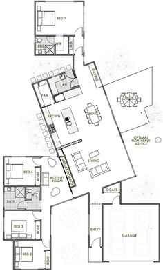 A Green Homes design is always of the highest quality. The Bond energy efficient home design is one of many quality driven houses we have on offer. Most Energy Efficient Floor Plans The Plan, How To Plan, Greenhouse Kits For Sale, Greenhouse Plans, Large Greenhouse, Home Design Floor Plans, Plan Design, Design Design, Green House Design
