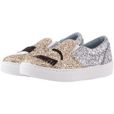 Chiara Ferragni Silver Gold Glitter Flirting Slip On (15.825 RUB) ❤ liked on Polyvore featuring shoes, silver shoes, embroidered shoes, gold glitter shoes, silver glitter shoes and gold slip on shoes