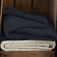 Pure Cotton Moss Stitch Throw - Charcoal Grey