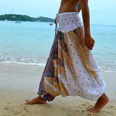 Harem Pants Hippie Bohemian Romper Jasmine Jumpsuit Thai Trousers Genie New Gypsy Festival Yoga Boho Chic White