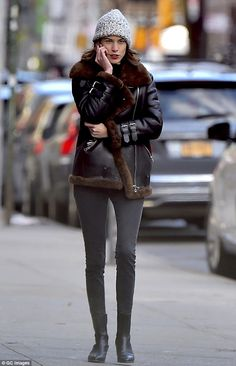 Stroll: Alexa Chung was spotted taking a stroll through the streets of New York on Tuesday...