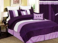 Purple Lavender Comforter Set Bed in a Bag King Purple Bedspread, Purple Comforter, Purple Bedding Sets, Velvet Bedspread, Luxury Comforter Sets, King Size Comforter Sets, King Size Comforters, Twin Comforter, Lavender Comforter