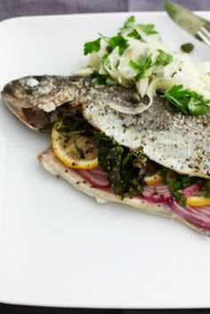 Whole baked trout with fennel salad recipe. A healthy dinner that's ...