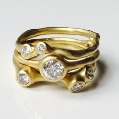 obsessing over these stacking wearable sculptures by our newest designer johnny ninos. #rings #recycledgold #conflictfree