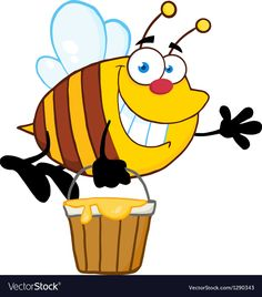 Smiling Bee Flying With A Honey Bucket And Waving For Greeting. Download a Free Preview or High Quality Adobe Illustrator Ai, EPS, PDF and High Resolution JPEG versions.