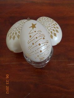 Christmas Tree Carved Chicken Egg Ornament by CraftyCarvings, $17.95: