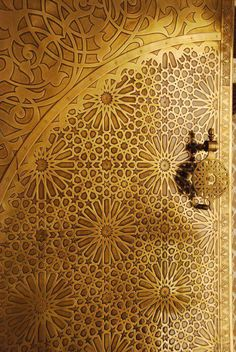 Geometric patterning on traditional plated Moroccan doors