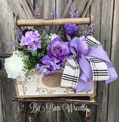Lavender Floral, Lavender Decor, Summer Floral, Farmhouse Decor, Spring Decor, Spring Arrangement, Floral Arrangement, Tool Caddy Welcome fields of lavender into your home. Made in a wooden tool caddy with embellishment, filled with lush greens & dainty florals in purple, lavender and