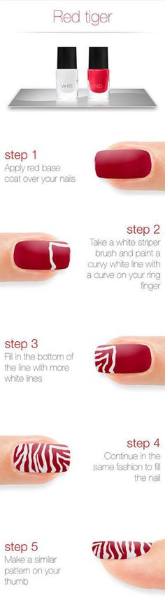 How to - Tiger Nails in Red & White #nailart #easynails #redpolish