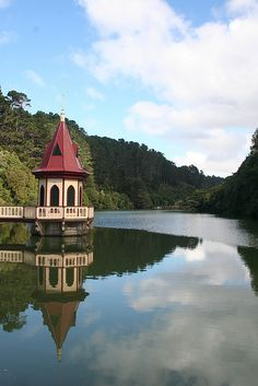 Bill😄✔️ Karori Water Intake Tower - Wellington, New Zealand - a large part of the hill area around here is being preserved and expanded as a predictor-free wildlife sanctuary. New Zealand Cruises, New Zealand Travel, Wellington New Zealand, Nova, Water Tower, South Island, Small Island, Capital City, Beautiful Places