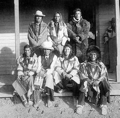 Crow Tribe, Principal Chief [1. Pretty Eagle, Principal Chief; 2. Bull Nose; 3. Spotted Horse; 4. Enemy Hunter; 5. Plenty Coups; 6. Big Shoulder; 7. Short Tail Bull]. Photographer not known, ca. 1881-5. (Photoshopped copy)