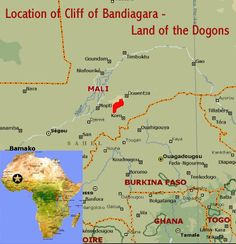 Map showing the location of the Cliff of Bandiagara (Land of the Dogons) UNESCO world heritage site (Mali)