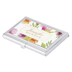 Vintage Watercolor Painted Flowers Monogram Name Business Card Holder