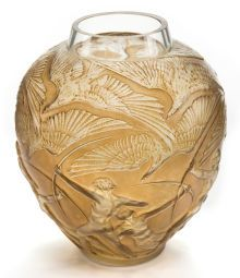 Lalique Clear & Frosted Glass Archers Vase w/Sepia Patina, cir. 1921