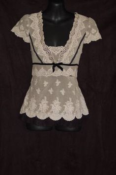 Nanette Lepore SZ 4 Lace Blouse Ivory Black Shirt Sleeve Ribbon Trim | eBay