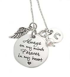Alwas on my mind, Forever in my heart - Memorial Jewelry - Miscarriage - Pregnancy Infant Loss - Remembrance Jewelry - Miscarriage Necklace - Footprints Necklace - Stampressions - www.stampressions.com