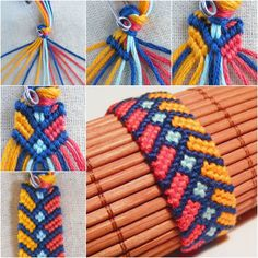 Do you like this stylish Chevron bracelet with square knot ! It's so pereety and It doesn't require complicated braiding technique. All you need to do is keep tying the knots patiently. You can create one as a gift, Enjoy ! What you will need:  Cotton yarn in various colors; Scissors; Pins.