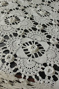 Vintage French crochet bed cover coverlet bedspread lace ~ handmade LOVELY ~ | eBay