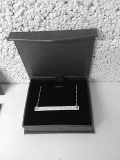 Made to order, personalised bar on silver chain.
