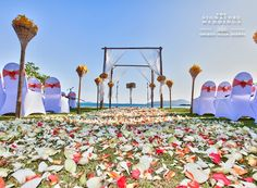 Beach aisle decorated with petals, moments before everyone arrives.  by The Signature Weddings