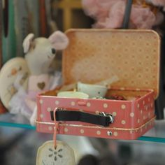 This pretty pink polka dot tin suitcase opens to reveal beautifully hand-painted cakes and cups.  Everything miss mouse and her friends need to host the perfect dreamy afternoon tea party. #mailegmouse #maileg #danishdesign #cupandcake #timefortea #toyisforjoy #thechildrenshourslc    The Children's Hour Bookstore & Boutique    Clothing  Gifts  Toys  Shoes    898 South 900 East    Salt Lake City Utah    801.359.4150    childrenshourbookstore.com