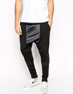 ASOS Drop Crotch Sweatpants With Polytrico Panel Miesten Verkkarit e0b889ca15