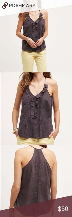 """Anthropologie Lace Ruffle Tank Ruffled Mora Tank By Les Cocotiers Cotton Pullover styling. 18.5"""" underarm to underarm and 25.5"""" L Anthropologie Tops Tank Tops"""