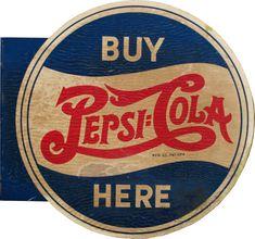 "Vintage Pepsi Logo   VCA   Vintage \""Buy Pepsi-Cola Here\"" Double Sided Flange Tin Sign ..."