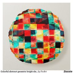 Colorful abstract geomtric bright element design round pillow Decorative Throw Pillows, Decorative Bowls, Vibrant Colors, Colorful, Round Pillow, Bright, Abstract, Fabric, Design
