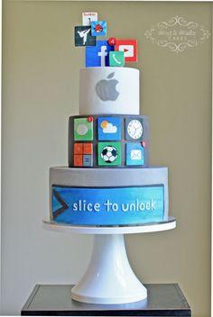 #KatieSheaDesign ♡♡♡  Apple Computer Cake via @CakesDecor