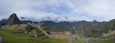 Panoramic photo of Machu Picchu in Peru.