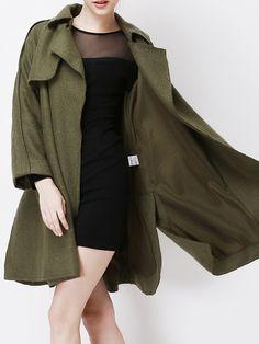 Dark Green Long Sleeve Lapel With Belt Woollen